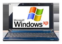На нетбуке работает установленная  Windows XP
